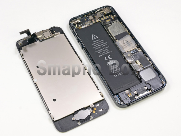 iPhone5sガラス割れ修理フロント取り外し完了